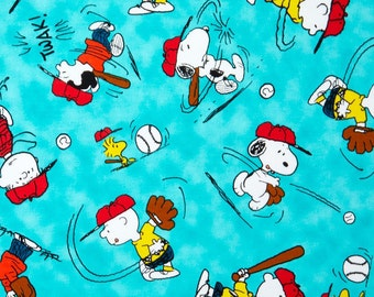 "Peanuts Fabric - Snoopy Fabric - Peanuts All Stars Character Baseball Medium 100% cotton fabric 44"" wide, G264"