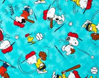 "Peanuts Fabric - Snoopy Fabric - Peanuts All Stars Character Baseball Medium 100% cotton fabric 44"" wide, G264"