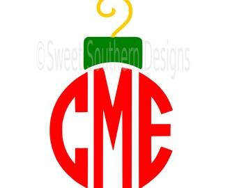 Ornament top monogram Christmas design SVG instant download design for cricut or silhouette