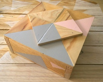 Graphic jewelry box made of wood with mirror