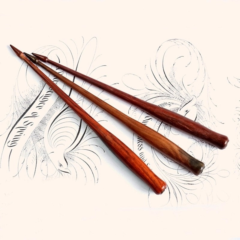 Straight Rosewood Calligraphy Pen Holder By Cassiopeiaco