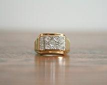 Vintage 18KT 18Karat HGE Yellow Gold Electroplate With Round Cut CZ Cubic Zirconia  Cluster Masculine Handsome GentlemanMen Man Ring Size 10