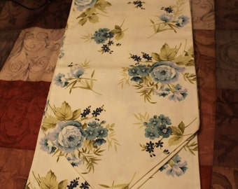 Table Runner/Blue Flowers on slightly off white cotton fabric