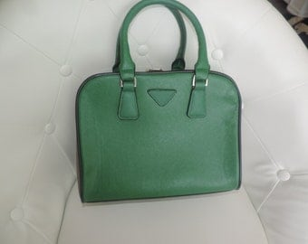 Green beige, and gold box purse