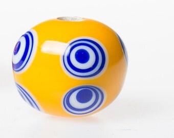 Celtic glass bead La Tène Hallstatt  yellow 8eyed