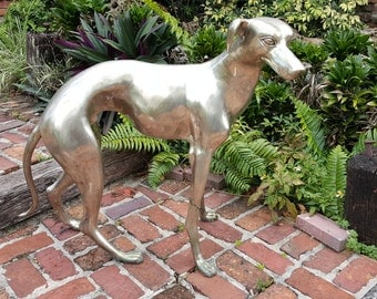 Silvered Bronze Life Size Sculpture of a Whippet ca. 1960