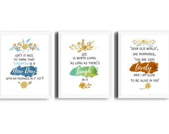 Anne of Green Gables - set of 3 printables, Anne of Green Gables quotes, Anne of Green Gables print, book lover gift, laugh, new day, lovely