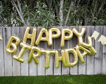 Happy Birthday Balloon Banner, gold,birthday party,letter balloons,party decor,party balloons,birthday garland,balloons,gold letter balloons