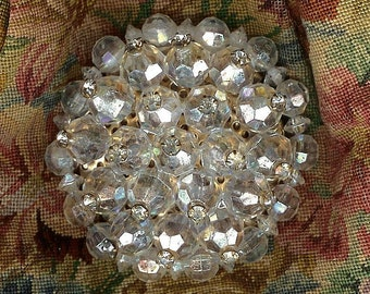 VINTAGE  AB Crystal & Rhinestone Large Cluster Pin Brooch