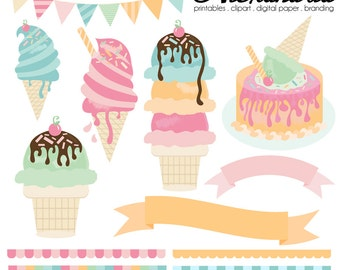 Ice Cream Parlour Digital Clipart - Personal & Commercial Use - Summer Clipart, Pastel Graphics, Dessert Images