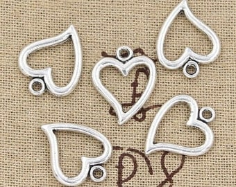 BULK 50 Open Heart Charms Antique Silver Tone Classic Lovely Design Love Charm Bracelet Bangle Bracelet Pendants #672