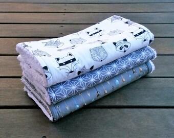 Burp cloth, Baby burp cloths set of 3 Tribal Animal, animal, baby boy, baby gift, racoon, arrows, grey, cotton towelling