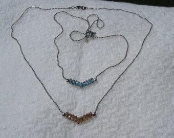 Two Vintage Prong Set Cut Glass Necklaces/Chokers