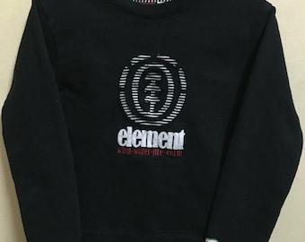 Vintage 90's Element Black Classic Design Skate Sweat Shirt Sweater Varsity Jacket Size S #A353