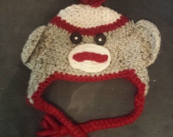 Crocheted Sock Monkey Hat  Children - Adult sizes
