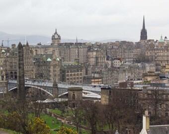 Edinburgh Skyline, Edinburgh, Scotland, Calton Hill, Bird's Eye View, Bridge, Print, Photograph, Earth Tones, Fine Art, Wall Art