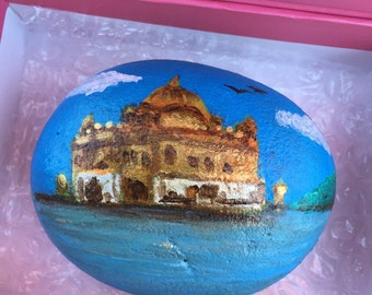 Sikh Golden Temple Harminder Sahib India Acrylic on Rock