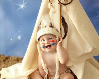Newborn Indian Headdress, Baby Indian Headband, Crocheted Newborn Photo Prop