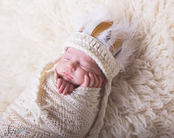 Newborn Indian Headdress, Baby Indian Headband, Crocheted Newborn Photo Prop