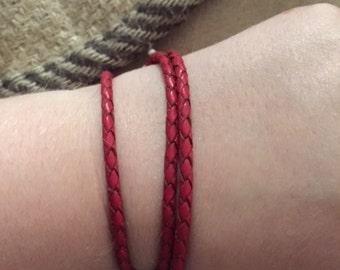 Braided red leather wrap bracelet