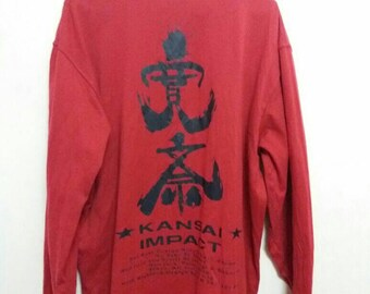 Vintage kansai impact tee long sleeve spellout/embroidered words/kansai yamamoto/kansaiO2/kansai man/red/2L