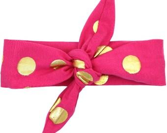 Pink & Gold Polka Dot Top Knot Headband