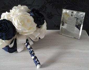 peony wedding bouquet navy blue bouquet ivory bouquet soft touh bouquet brides bouquet navy ivory bouquet wedding bouquet flower bouquet