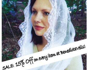 Mid-summer SALE: 15% Off on every item at BenedictaVeils ! Catholic Veil Mantilla Veil Chapel Veil Latin Mass Veil Church Veil for Mass