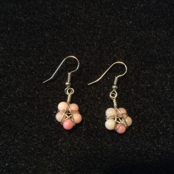 Pink Flower Star Earrings