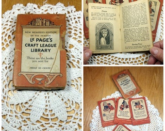 Vintage Craft Books Le Page Miniature Books Set Nearly Antique Books How To Craft Making Library Gift for Crafter Mini Books