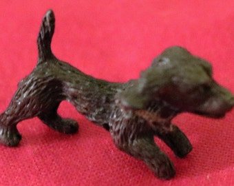 Vintage Miniature Pewter Playful Puppy