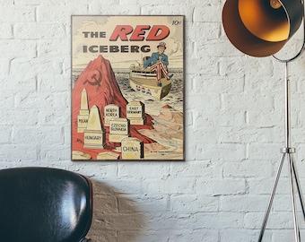 Cold War Anti-Communist Propaganda 1960 The Red Iceberg Comic Vitnage Wooden Poster