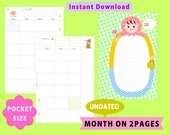 PRINTABLE Pocket Size, Undated Monthly Planner, Month On Two Pages, Filofax, Kikkik, Instant Download