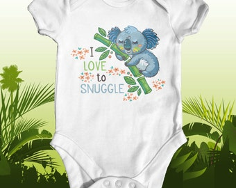 I Love To Snuggle Koala Baby Bodysuit | Cute Baby Clothes | Baby Shower Gift | Funny Baby Bodysuit | Animal Baby Bodysuit | Unisex Baby