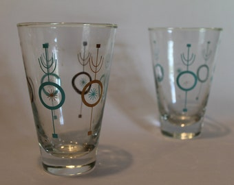 Set of 2 Mid Century Modern Glasses