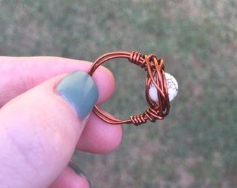 Marble & Bronze Wire Wrapped Ring