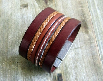 Men genuine leather Cuff Bracelet Brown and Camel braided. 40MM magnetic silver plated clasp.