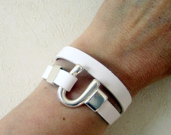 Bracelet leather white, 2 rounds of wrist, silver clasp