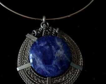 Handmade necklace with natural Sodalite stone