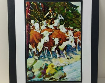 Cowboy Note Card - Rancher - Hereford Cattle - Western - Handmade