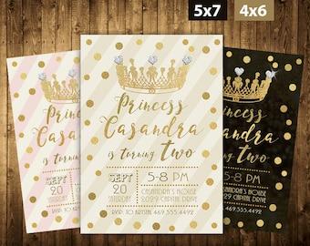 Princess Invitation, Gold, Pink Invitation, Princess Birthday Invitation, Princess Party, Gold Glitter