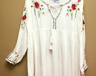 White Embroidered Gauze Dress.