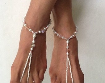 Pink and Pearls Barefoot Sandal Anklets Wedding Sandals Body Jewelry Beach Wedding Sandals Foot Jewelry Beaded Jewelry Sandals