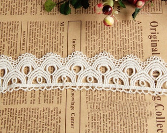 "10 yard 4cm 1.57"" wide ivory cotton scallop embroidered lace trim ribbon tapes h6t45 free ship"