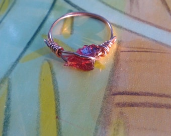 Copper and genuine garnet ring 6.5
