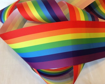 "3"" (75mm) RAINBOW STRIPES Grosgrain Ribbon"
