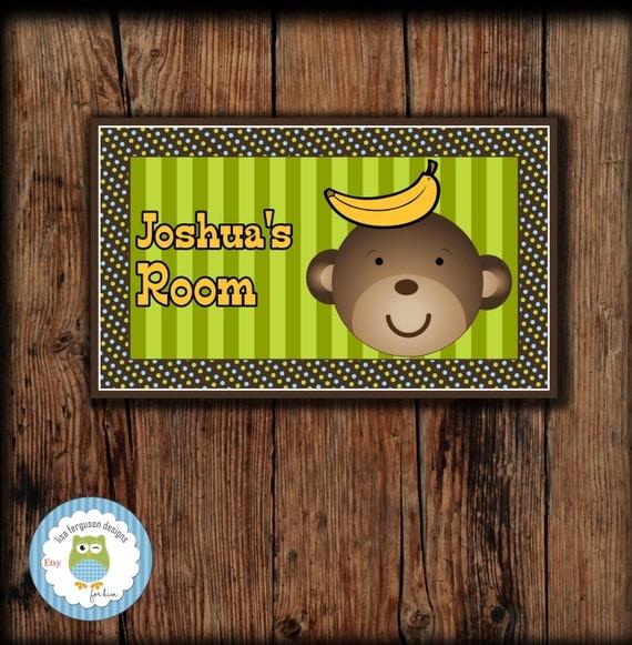 Personalized Monkey Bedroom Door Sign For Kids