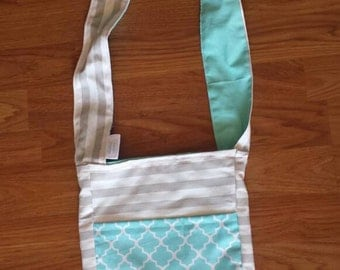 Reversible Cross body Purses. Gray/Blue