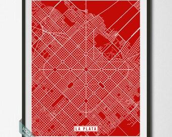 La Plata Print, Argentina Poster, La Plata Poster, La Plata Map, Argentina Print, Argentina Map, Street Map, Christmas Gift
