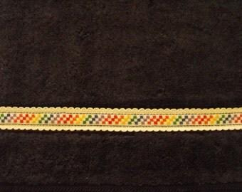 Brand new cross stitch hand towel-navy-white aida-bright squares-red-orange-yellow-green-blue-purple-pink-great gift-christmas-housewarming